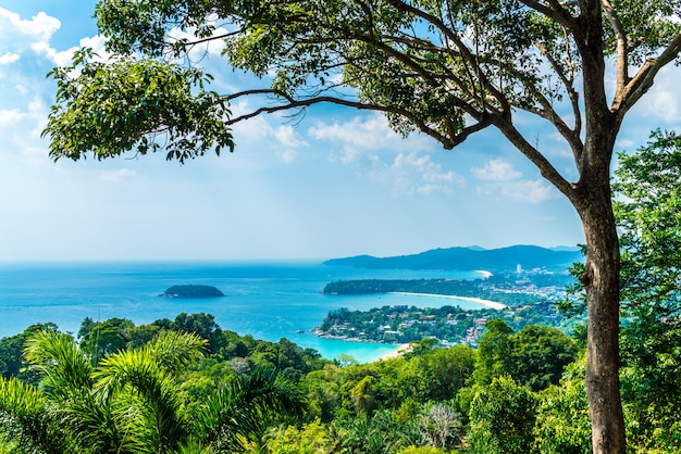 Tropical beach skyline at karon view point in phuket, thailand