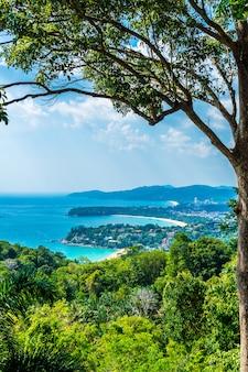 Tropical beach skyline at karon view point in phuket, thailand