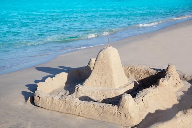 Tropical beach with castle