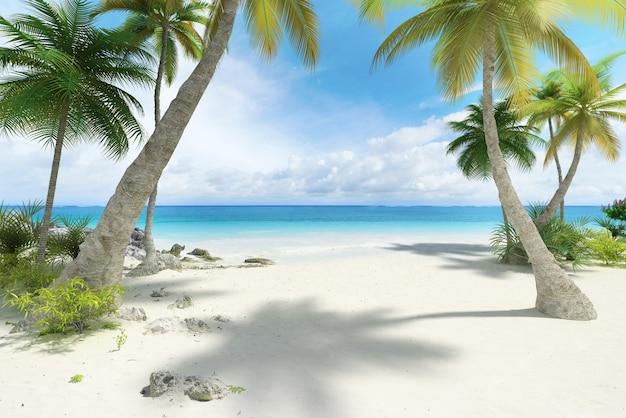 Тропический пляж с пальмами и большим пространством для копирования