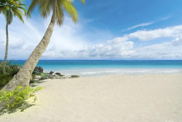 ヤシの木とたくさんのコピースペースがある熱帯のビーチ