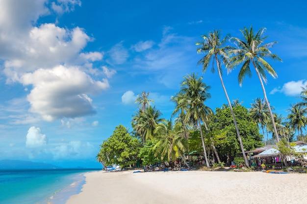 Тропический пляж с пальмами на острове самуи, таиланд