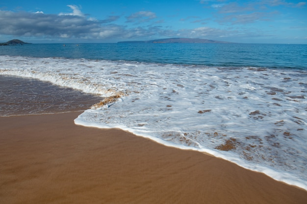 Tropical beach with sea sand on summer vacation
