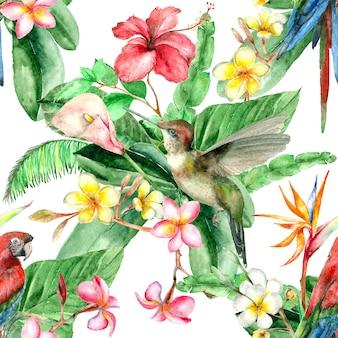 Tropical bird watercolor pattern