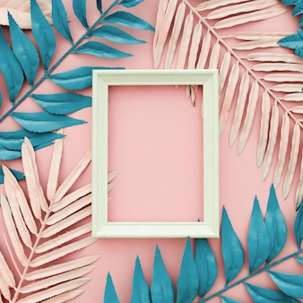 Tropical blue and pink palm leaves with white frame on pink background