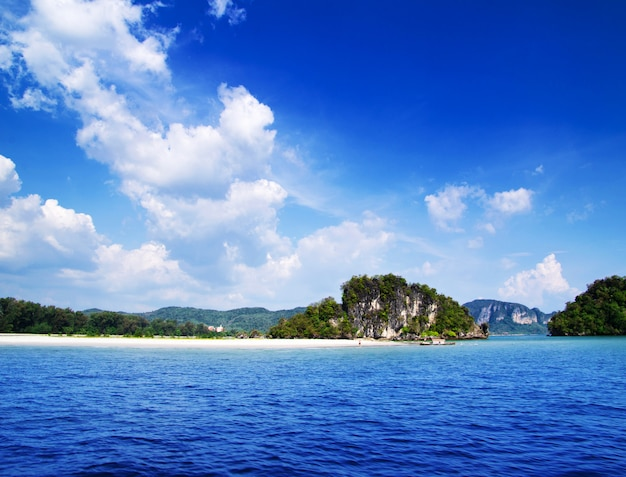 Tropical blue sea and island landscape