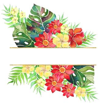 야자수 잎과 꽃이 있는 열대 국경. 수채화 배열