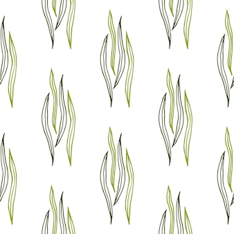 열 대 식물 개요 모양 흰색 바탕에 완벽 한 패턴입니다.