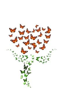 꽃 모양의 열대 나비. 흰색 배경에 고립. 빨간 튤립. 고품질 사진