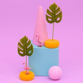 Tropical composition. flamingo and geometry. minimal fashion art