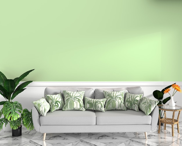 Tropical design,armchair,plant,cabinet on granite floor and green background.3 d rendering