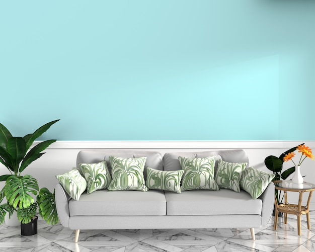 Tropical design,armchair,plant,cabinet on granite floor and mint background