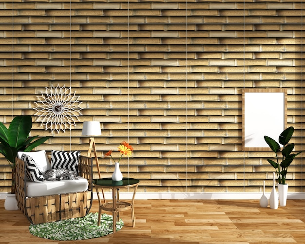 Tropical design,armchair,plant,cabinet on wood floor and bamboo tile background.3 d render