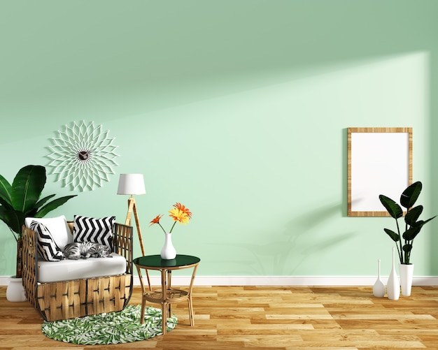 Tropical design,armchair,plant,cabinet on wood floor and mint background
