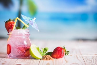 Tropical drink and fruits