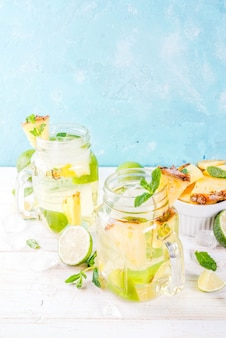 Tropical drink,  pineapple mojito or lemonade