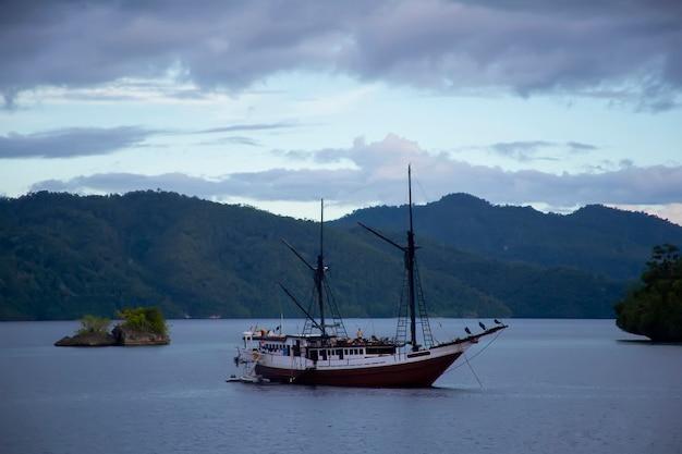 Тропическая среда красивых соломоновых островов с горами и тропической растительностью