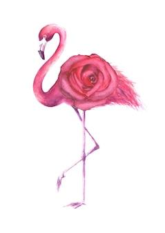 흰색 배경에 고립 된 핑크 장미와 열 대 이국적인 새 핑크 플라밍고. 수채화 손으로 그린 천연 식물 고전 삽화는 청첩장, 연하장을 위한 것입니다.