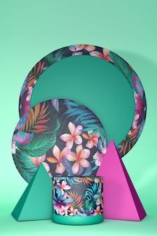 제품 발표를위한 열대 이국적인 꽃 플랫폼. 여름 밝은 분홍색과 녹색 색상. 이국적인 정글 프린트, 세로 프레임