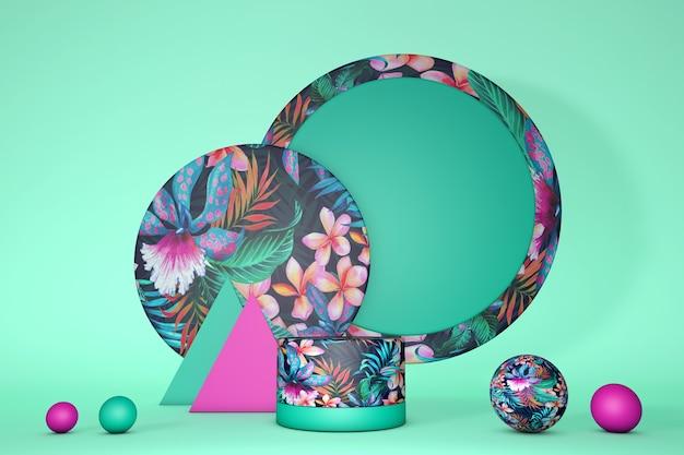 제품 발표를위한 열대 이국적인 꽃 연단. 밝은 분홍색과 녹색 스타일. 이국적인 정글 프린트, 여름 컨셉