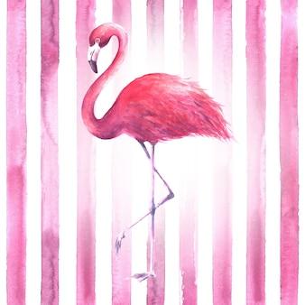 縦縞のピンクと白の背景に熱帯のエキゾチックなピンクのフラミンゴ。水彩手描きイラスト。
