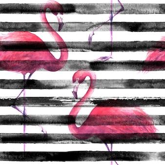 横縞の黒と白の背景に熱帯のエキゾチックなピンクのフラミンゴ。水彩手描きイラスト。ラッピング、壁紙、テキスタイル、ファブリックのグランジシームレスパターン。