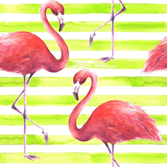 横縞のレモングリーンと白の背景に熱帯のエキゾチックなピンクのフラミンゴ。水彩手描きイラスト。ラッピング、壁紙、テキスタイル、ファブリックのシームレスなパターン。