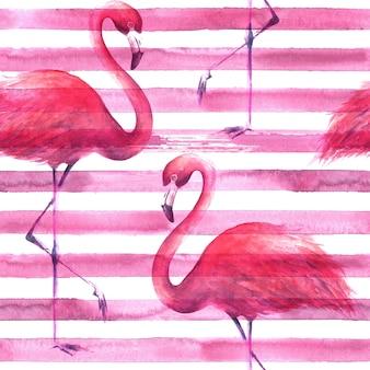 横縞のピンクと白の背景に熱帯のエキゾチックなピンクのフラミンゴ。水彩手描きイラスト。ラッピング、壁紙、テキスタイル、ファブリックのシームレスなパターン。