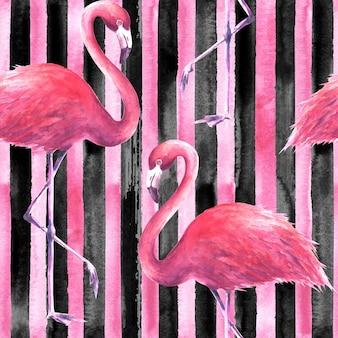 縦縞の黒とピンクの背景に熱帯のエキゾチックなピンクのフラミンゴ。水彩手描きイラスト。ラッピング、壁紙、テキスタイル、ファブリックのシームレスなパターン。