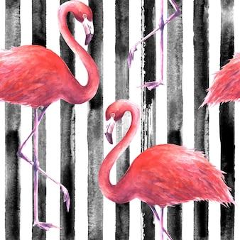 縦縞の黒と白の背景に熱帯のエキゾチックなピンクのフラミンゴ。水彩手描きイラスト。ラッピング、壁紙、テキスタイル、ファブリックのシームレスなパターン。