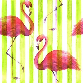 縦縞のレモングリーンと白の背景に熱帯のエキゾチックなピンクのフラミンゴ。水彩手描きイラスト。ラッピング、壁紙、テキスタイル、ファブリックのシームレスなパターン。