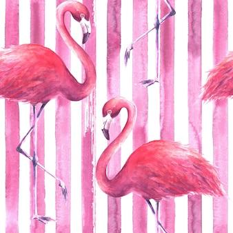 縦縞のピンクと白の背景に熱帯のエキゾチックなピンクのフラミンゴ。水彩手描きイラスト。ラッピング、壁紙、テキスタイル、ファブリックのシームレスなパターン。