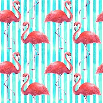 縦縞のティールと白い背景の上の熱帯のエキゾチックなピンクのフラミンゴ。水彩手描きイラスト。ラッピング、壁紙、テキスタイル、ファブリックのシームレスなパターン。