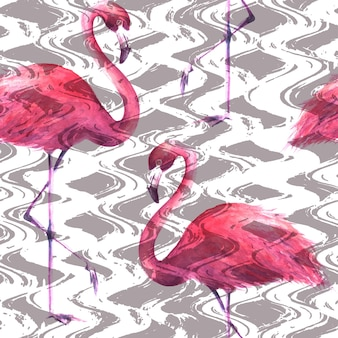 縦の波状の縞模様の灰色と白の背景に熱帯のエキゾチックなピンクのフラミンゴ。水彩手描きイラスト。ラッピング、壁紙、テキスタイル、ファブリックのシームレスなパターン。