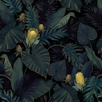 熱帯の葉にプロテアの花と熱帯のエキゾチックなシームレスパターン。手描きイラスト。