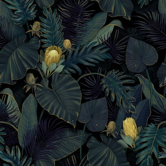 Tropical exotic seamless pattern with protea flowers in tropical leaves. hand-drawn illustration.