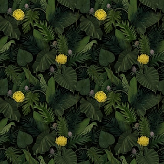 Tropical exotic seamless pattern with protea flowers in tropical leaves. hand-drawn vintage 3d illustration. good for design wallpapers, fabric printing, wrapping paper, cloth, notebook covers.