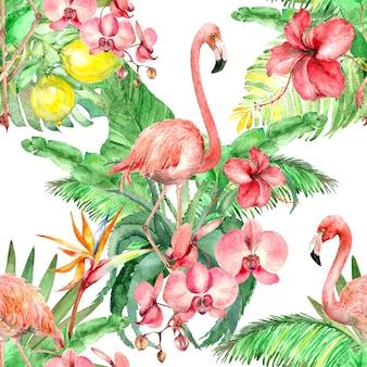 Tropical  flamingo watercolor pattern