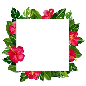 Tropical frame with flowers.