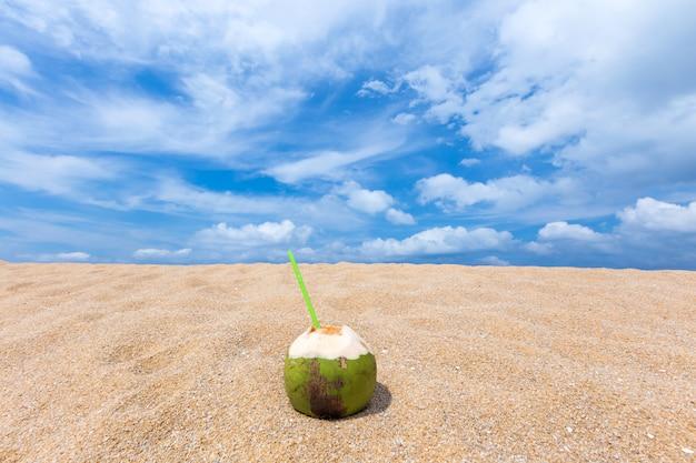Tropical fresh coconut cocktail  on the beach