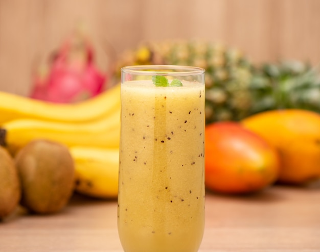 Tropical fresh fruits smoothies