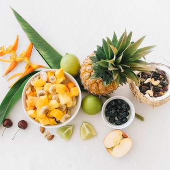 Tropical fresh fruits on white background