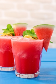 Tropical fresh watermelon smoothie summer drinks