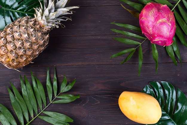 Tropical fruit frame with pineapple