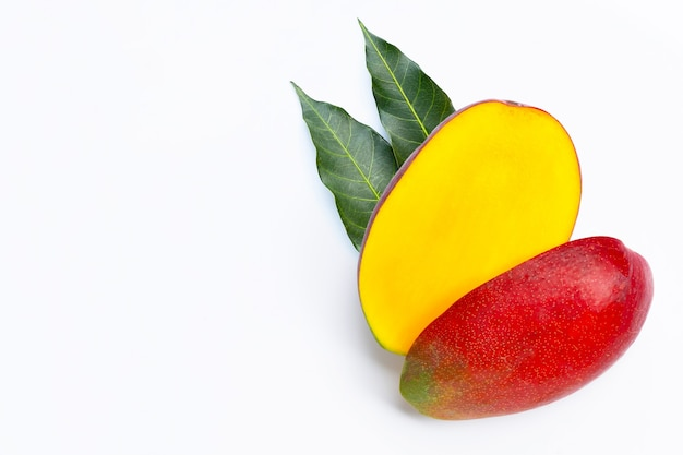 Tropical fruit, mango  on white background. top view