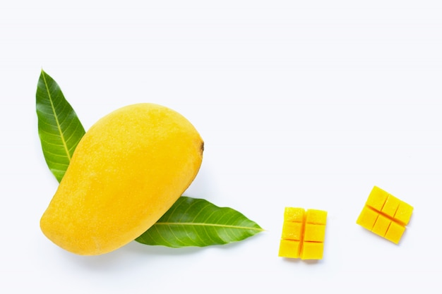 Tropical fruit, mango  on white background