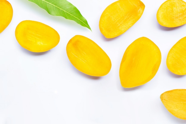 Tropical fruit, mango  on white background.