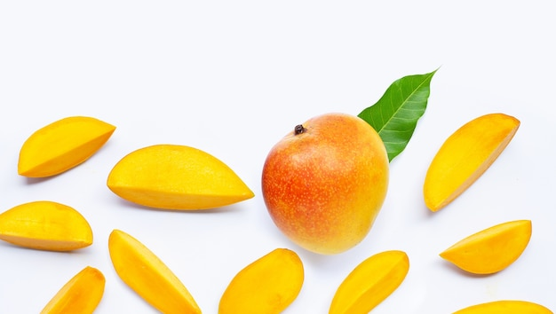 Tropical fruit, mango  on white. top view