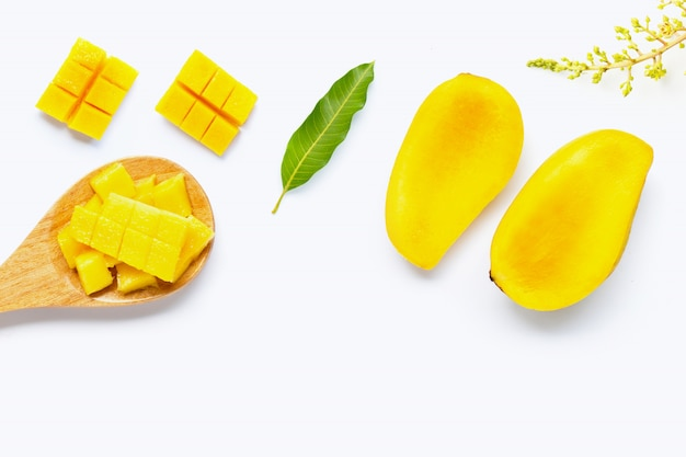 Tropical fruit, mango on white.