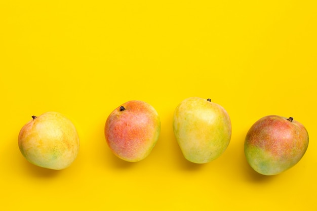 Tropical fruit, mango on yellow background. copy space